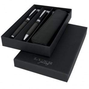 Carbon dobbelt gavesæt med penne og pose