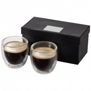 Boda espressosæt i glas med 2 dele