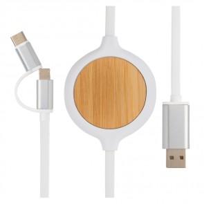3 i 1 kabel med 5W bambus trådløs oplader