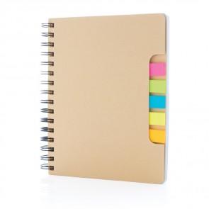 "A5 Kraft spiral notesbog med ""sticky notes"""