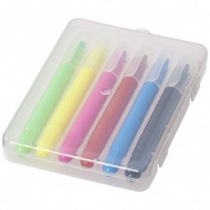 Phiz 6 farver med trykmekanisme i plastikæske