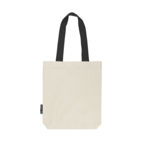 Neutral Twill Bag W. Contrast Handles